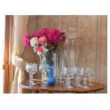 Glass Vases, Etched Stemware / Wine Glasses
