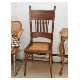 Antique Oak Side Chair with Cane Seat
