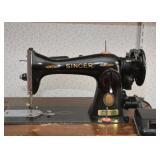 Antique / Vintage Singer Sewing Machine with Work Cabinet