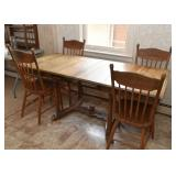 Vintage Oak Dining Table with Extension Leaves