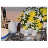 Teapot, Serving Trays, Ramekins