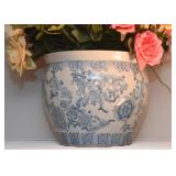 Chinese Pottery Planter (Blue & White)