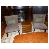 Pair of animal print accent chairs