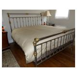 Charles Rogers brass & stainless king size bed