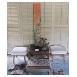 WVT049 Wooden End Tables, Stools, Rice Paper Picture & More!