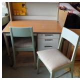 WVT086 Metal Desk, Chairs, End Table and Sheepskin Rug