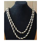 """WVT130 Exquisite 56"""" Black and Pupu Shell Lei"""