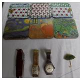 WVT178 Coasters, Vintage Watches, Brooch and Pocket Knife