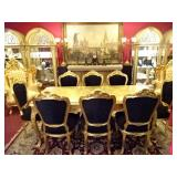 ROCOCO GOLD GILT WOOD DINING TABLE WITH 8 BLACK VELVET CHAIRS