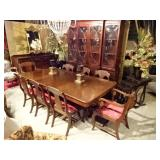 REGENCY DINING TABLE WITH 2 LEAVES AND 8 CHAIRS