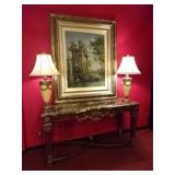 GILT WOOD AND MARBLE CONSOLE TABLE