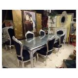 ROCOCO SILVER GILT WOOD DINING TABLE WITH 6 BLACK VELVET CHAIRS