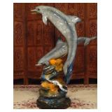 LARGE PATINATED BRONZE SCULPTURE, 2 LEAPING DOLPHINS ON MARBLE BASE