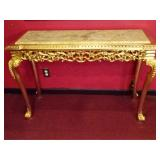 ROCOCO GOLD GILT CONSOLE TABLE WITH CREAM MARBLE TOP