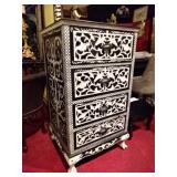 INTRICATELY CARVED AND PAINTED 4 DRAWER CHEST
