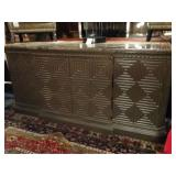 MID CENTURY MODERN SIDEBOARD WITH GEOMETRIC SQUARES AND MARBLE TOP