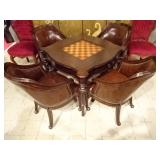 GAME TABLE WITH 4 LEATHER CHAIRS