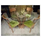 MODERN EXCELSIOR DESIGNS DINING TABLE WITH POLISHED STEEL BACKS