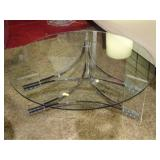 MODERN LUCITE AND CHROME COFFEE TABLE WITH ROUND GLASS TOP AND LUCITE PANELS