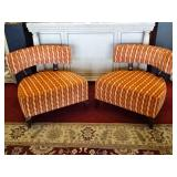 PAIR THAYER COGGIN CURVED BACK ARMCHAIRS IN EXCELLENT CONDITION