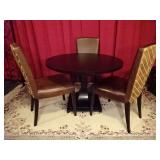 HENREDON DINING TABLE WITH 3 LEATHER CHAIRS
