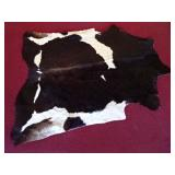 HUGE NATURAL COWHIDE RUG IN WHITE AND BROWN