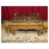 MARBLE TOP COFFEE TABLE WITH CARVED ELEPHANT LEGS