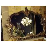 """LARGE ROCOCO GOLD GILT WOOD MIRROR, 60"""" WIDE"""