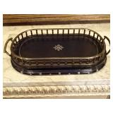 MAITLAND SMIT LEATHER AND METAL TRAY