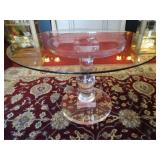 SPECTACULAR BALUSTER FORM LUCITE DINING TABLE IN CRYSTAL CLEAR LUCITE, THICK ROUND GLASS TOP
