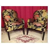 PAIR ARMCHAIRS WITH EMBROIDERED TROPICAL FOLIAGE UPHOLSTERY