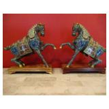PAIR LARGE CHINESE CLOISONNE HORSES