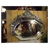 HUGE 60 INCH VENETIAN BAROQUE MIRROR WITH ETCHED MIRRORED FRAME