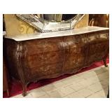 BURL WOOD BOMBE CHEST WITH WHITE MARBLE TOP