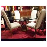 ITALIANATE DINING TABLE WITH 4 NEW WILLIAMS SONOMA CHAIRS