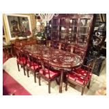 CHINESE ROSEWOOD AND MOTHER OF PEARL DINING TABLE WITH 8 CHAIRS