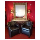 PAIR BLACK LEATHER CLUB CHAIRS ON COASTERS