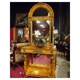 FRENCH EMPIRE STYLE BURL WOOD CONSOLE AND MIRROR WITH GILT BRONZE AND MARBLE