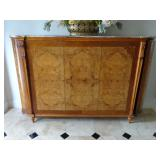 LOUIS XVI STYLE BURL WOOD CABINET WITH MARBLE TOP