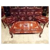 3 PC CHINESE ROSEWOOD AND MOTHER OF PEARL COFFEE AND END TABLE SET