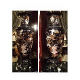 PAIR MONUMENTAL CHINESE MOTHER OF PEARL PALACE VASES IN BLACK LACQUER
