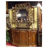 NEOCLASSICAL GILT WOOD SIDEBOARD WITH BLACK MARBLE TOP