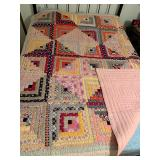 Log Cabin Quilt hand pieced, hand quilted, 1930s and 40s fabrics