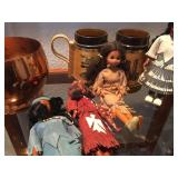 Vintage mugs and Indian Dolls