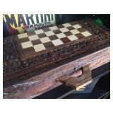 Wooden carved chess board