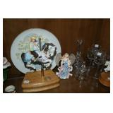 Carousel horses, angel figurine, decorative bells & plate, cordial glasses