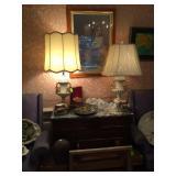 Mahogany Server, Pair of Matching Vintage Cordey Lamps