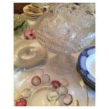 Antique Pressed Glass Pedestal Punch Bowl with Matching Cups