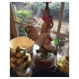 Rooster Motif Hand Painted Table Lamps