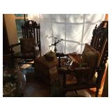 Pair of Antique Carved Over Sized Chairs with Cane Seat